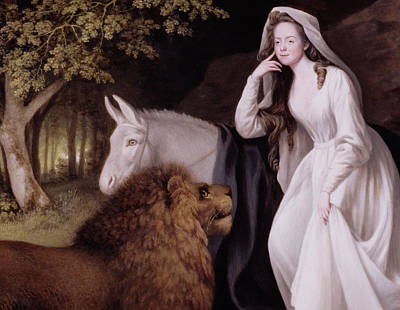 Long Mane Painting - Una And The Lion by George Stubbs