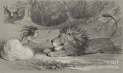 Donkey Drawing - Una And The Lion  by Richard Doyle