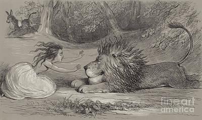 Una And The Lion  Art Print