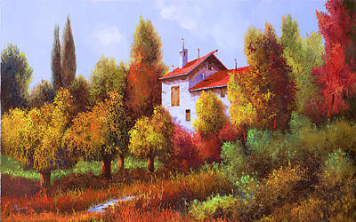 Paintings - Una Casa E Mezza Nel Bosco by Guido Borelli