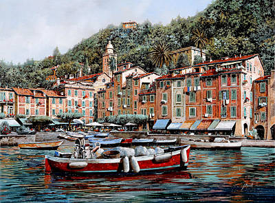 Boat Harbour Wall Art - Painting - Una Lunga Barca Rossa by Guido Borelli
