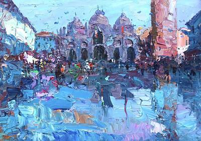 Oil Painting - Una Passeggiata Nell'incanto Di Piazza San Marco A Venezia by Agostino Veroni