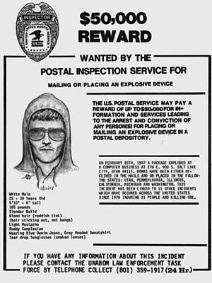 Unabomber Ted Kaczynski Wanted Poster 1 Original by Tony Rubino