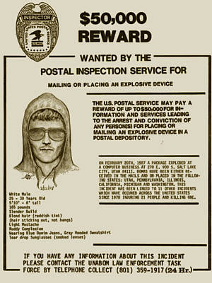 Unabomber Ted Kaczynski Wanted Poster 2 Original by Tony Rubino