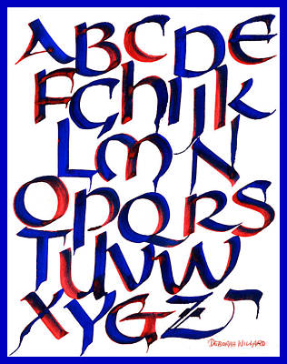 Drawing - Uncial Alphabet In Red And Blue by Deborah Willard