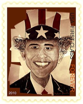 Teosanta Mixed Media - Uncle Bam  Postage Stamp by Teodoro De La Santa