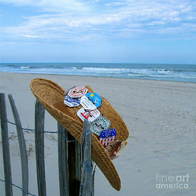 Uncle Carl's Beach Hat Art Print by Nancy Patterson