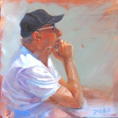 Hat Man Painting - Uncle John by Laura Lee Zanghetti