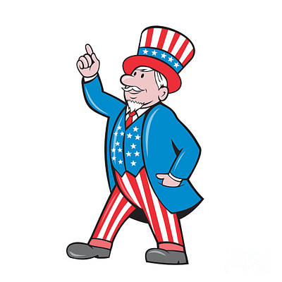 Uncle Sam Digital Art - Uncle Sam American Pointing Up Cartoon by Aloysius Patrimonio