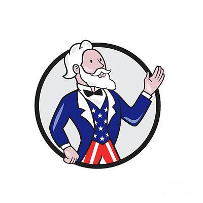 Uncle Sam Digital Art - Uncle Sam American Waving Hand Circle Cartoon by Aloysius Patrimonio