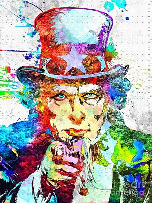 Uncle Sam Grunge Art Print