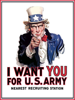 World War Two Painting - Uncle Sam -- I Want You by War Is Hell Store