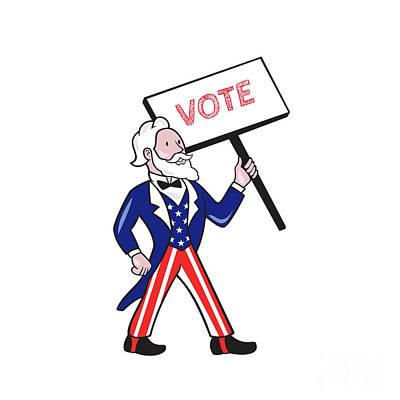 Uncle Sam Digital Art - Uncle Sam Placard Vote Standing Cartoon by Aloysius Patrimonio