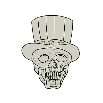 Uncle Sam Digital Art - Uncle Sam Top Hat Skull Drawing by Aloysius Patrimonio