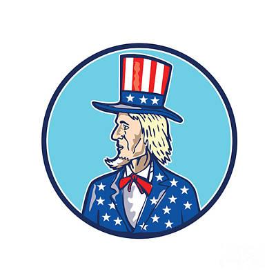 Uncle Sam Digital Art - Uncle Sam Tophat American Flag Cartoon by Aloysius Patrimonio