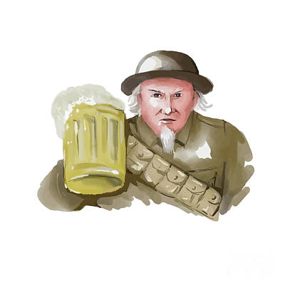 Uncle Sam Digital Art - Uncle Sam Ww1 Soldier Toasting Beer Watercolor by Aloysius Patrimonio