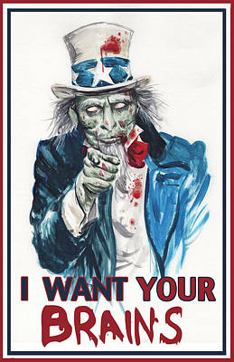 Uncle Sam Zombie Print by James Holko