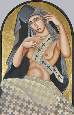 Contemporary Byzantine Art Painting - Unclothing The Lie by Dimitra Natskouli