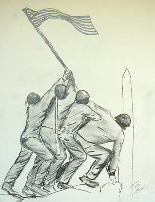Iwo Jima Drawing - Uncommon Valor by Tobi Cooper