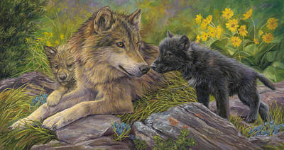 Gray Wolf Painting - Unconditional Love by Lucie Bilodeau