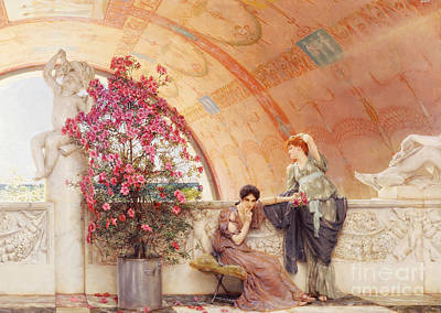 Waiting Girl Painting - Unconscious Rivals by Sir Lawrence Alma Tadema