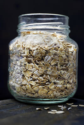 Fiber Glass Photograph - Uncooked Oatmeal Flakes by Donald  Erickson