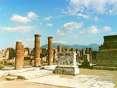 Photograph - Uncovered Ruins Of Pompei, Italy by Merton Allen