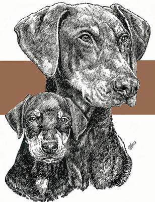 Mixed Media - Uncropped Doberman And Pup by Barbara Keith