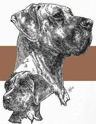 Mixed Media - Uncropped Great Dane And Pup by Barbara Keith