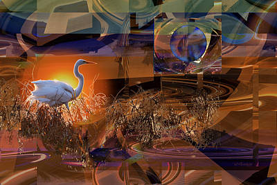 Digital Art - Under A Different Moon At Sunset by rd Erickson