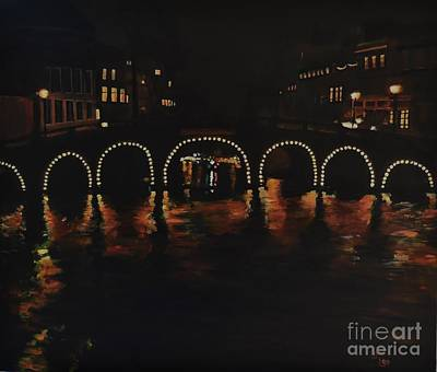 Under A Lighted Bridge In Amsterdam Art Print