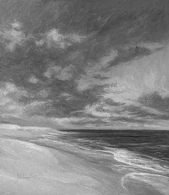 Under A Painted Sky - Black And White Art Print by Lucie Bilodeau