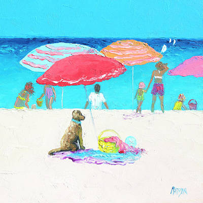 Under A Red Umbrella Art Print