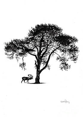 Snow Scene Landscape Drawing - Under A Tree In Winter by Callan Percy