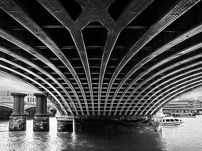 Railroad Station Photograph - Under Blackfriars Railway Bridge Mono by Gill Billington