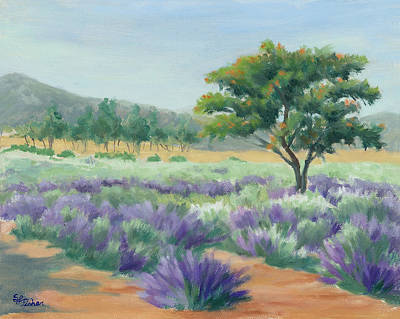 Painting - Under Blue Skies In Lavender Fields by Sandy Fisher