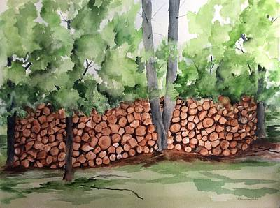 Painting - Under Hill Rd. Woodpile by Ellen Canfield