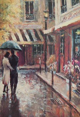 Under My Umbrella  Art Print by Roy Pedersen