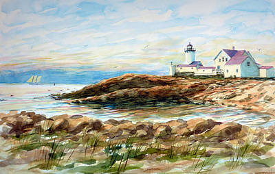 Painting - Under Sail - Gloucester Lighthouse by Carl Whitten