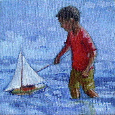 Painting - Under Sail Little Boy Sailboat Toy by Mary Hubley