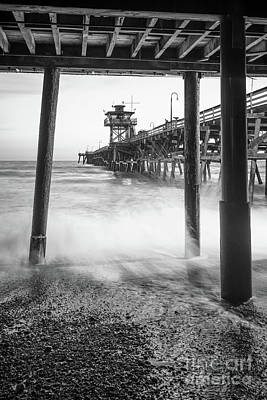 San Clemente Beach Photograph - Under San Clemente Pier Black And White Photo by Paul Velgos