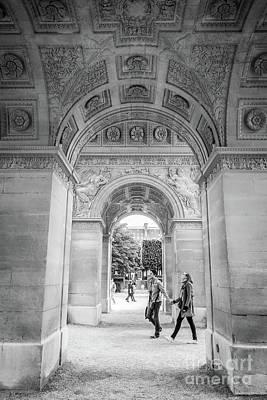 Arc De Triomphe Du Carrousel Wall Art - Photograph - Under The  Arc Du Carrousel, Paris, Black And White by Liesl Walsh