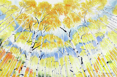 Painting - Under The Autumn Birch Forest by Melly Terpening