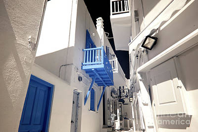 Photograph - Under The Blue Balcony In Mykonos Infrared by John Rizzuto