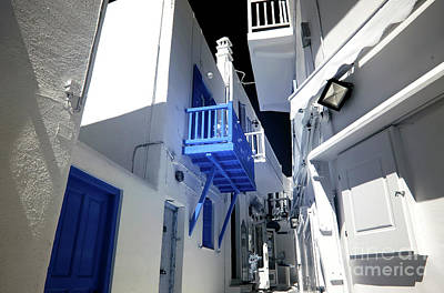 Photograph - Under The Blue Balcony In Mykonos Town Infrared by John Rizzuto
