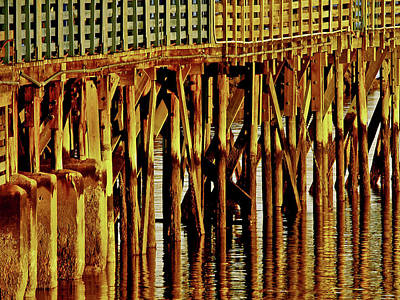 Photograph - Under The Boardwalk Pier  Wall Art Print by Carol F Austin