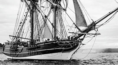 Photograph - Under The Bowsprit Bw by Bob VonDrachek