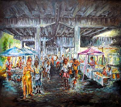 Painting - Under The Bridge by Charles Simms