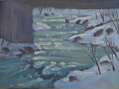 Painting - Under The Brige At Mcdonald Brook Study by Len Stomski