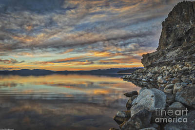Sunset By The Lake Photograph - Under The Calico Sky by Mitch Shindelbower
